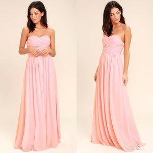 Lulu's Blush Pink Strapless Maxi Dress